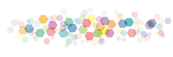 Vector banner,  background with hexagons, blurry light effect