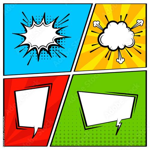 Comic speech bubble set empty cartoon pop art expression - Cuadros pop art comic ...