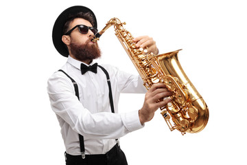 Bearded man playing a saxophone