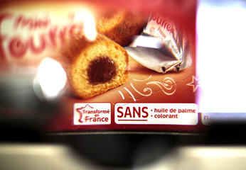 "An information sticker ""no palm oil and no food coloring added"" is displayed on a box of desert cakes in this illustration photo taken in a supermaket in Nice"