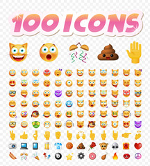 Set of 100 Cute Icons on White Transparent  Isolated Vector Illustration
