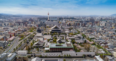 Spoed Fotobehang Kyoto Kyoto skyline with Kyoto Tower and Buddhist Temple
