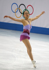 Mao Asada during the figure skating team ladies short program at the Sochi 2014 Winter Olympics