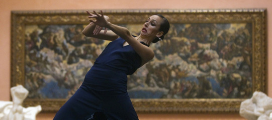 "A ballerina from Ullate's ballet company perform in front of painting ""El Paraiso"" in Museo Thyssen-Bornemisza in Madrid"