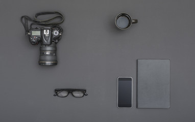 Black photography office desk hero header