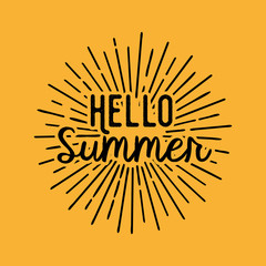 Hello Summer. Brush lettering composition.
