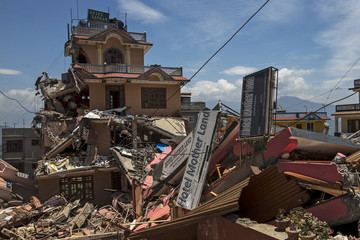 Collapsed buildings are pictured after Tuesday's earthquake at Charikot Village, in Dolakha