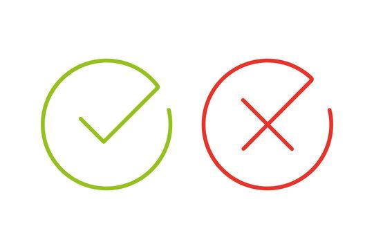 Thin line check mark icons