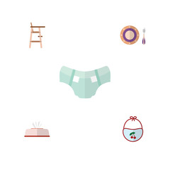 Flat Kid Set Of Nappy, Pinafore, Tissue And Other Vector Objects. Also Includes Chair, Tissue, Baby Elements.