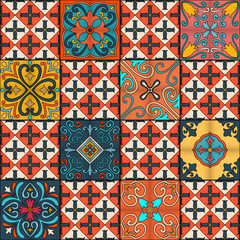 Photo sur Toile Tuiles Marocaines Seamless pattern with portuguese tiles in talavera style. Azulejo, moroccan, mexican ornaments.