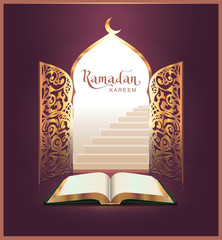 Ramadan Kareem lettering text and open book, door