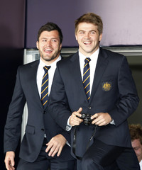 Wallabies' Mitchell and Ashley-Cooper arrive with the Australian rugby team at Auckland International Airport