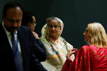 Bangladesh's Prime Minister Sheikh Hasina attends the United Nations General Assembly in the Manhattan borough of New York