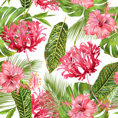 Tropical flower seamless pattern