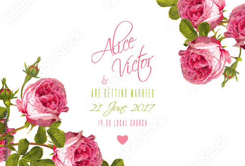 Rose wedding invitation stock image and royalty free vector files rose wedding invitation stopboris Image collections