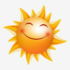 Smiling Sun. Vector image isolated. Cartoon style.
