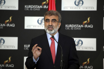 Turkey's Energy Minister Taner Yildiz speaks during a joint news conference with Iraqi Kurdish Regional Government Natural Resources Minister Ashti Hawrami at the Iraq-Kurdistan Oil and Gas Conference at Arbil