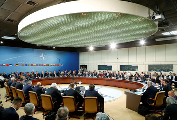 NATO foreign ministers attend a meeting at the Alliance headquarters in Brussels