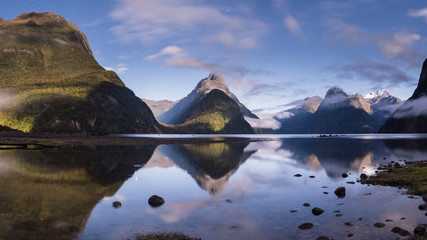 Milford sound during moon light