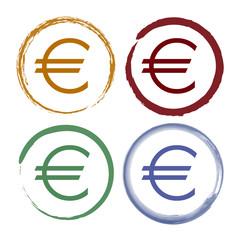 Pinselstrich Icon Set - Euro - Währung