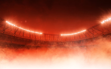 soccer stadium on red steam background