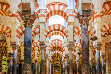 Interior view of La Mezquita Cathedral in Cordoba, Spain. Cathedral built inside of the former Great Mosque.