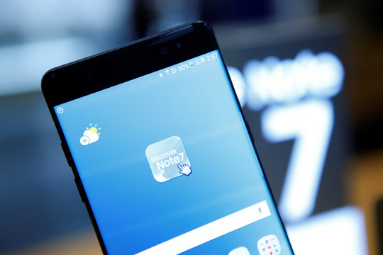A Samsung Electronics' Galaxy Note 7 is seen at the company's headquarters in Seoul