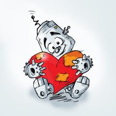 Cartoon robot and red heart