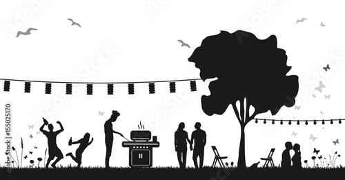 """""""Silhouette Feiern im Park"""" Stockfotos und lizenzfreie ..."""