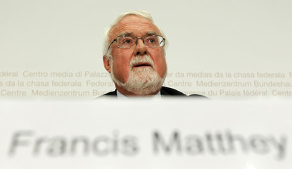 Matthey, President of the Federal Commission for Migration speaks during the annual news conference in Bern