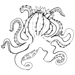 Octopus with blossom cactus head, cactopus