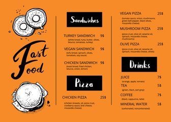 Restaurant menu template with food sketches. Fast food vector design with hand drawn pizza, hot dog, chicken, drink pencil doodles. Cafe price catalog, junk food card with hand drawn graphic
