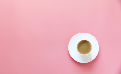 Good Morning hot coffee in cup on Pink background,copy space,Top view,flat lay