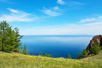 Lake Baikal in summer. The blossoming shore of the island of Olkhon on a June day