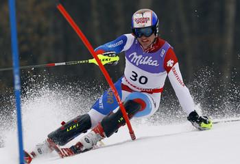 Murisier of Switzerland clears a gate during the men's slalom race at the Alpine Skiing World Championships in Garmisch-Partenkirchen