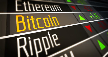 Financial markets and virtual currency values. Crypto Currency Market as concept.