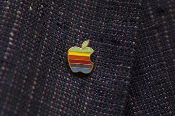Daniel Kottke wears an Apple lapel pin before participating in an event celebrating the 30th anniversary of the Macintosh in Cupertino