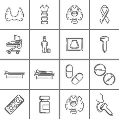 Set of thyroid gland anatomy, its diagnosis and treatment. Flat outline vector icons.