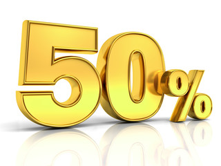 3D gold fifty percent or special offer 50% discount tag isolated over white background with shadow and reflection . 3D rendering.