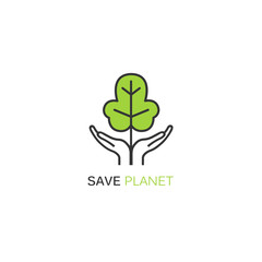 Vector logo design template in linear style - green tree growing from hands.