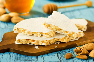 Torta or Turron, a Spanish Candy with Almonds and Honey