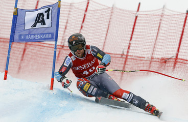 Ganong of the U.S. speeds down the famous Streif course during the men's Super G of the FIS Alpine Skiing World Cup at the Hahnenkamm mountain of the Austrian alpine skiing resort Kitzbuehel
