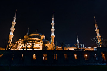 The Blue Mosque, outside at night with minaret
