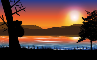 Sunset landscape with sea,mountain and tree with koala silhouette. Vector illustration.