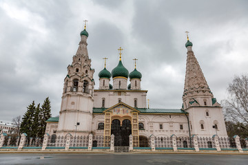 YAROSLAVL, RUSSIA - APRIL 27, 2017: Exterior of the Church of Elijah the Prophet. The middle of the 17th century. A masterpiece of ancient Russian architecture.