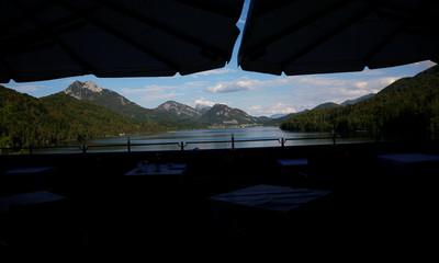 The terrace of Hotel Schloss Fuschl and Lake Fuschl are seen in Hof