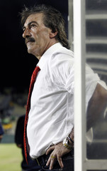 Costa Rica's new coach LaVolpe watches from the sidelines before their international friendly soccer match against Jamaica at Lockhart Stadium in Ft. Lauderdale