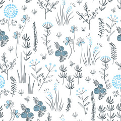 Floral vector seamless pattern with wild herbs, forest flowers and leaves. Vintage botanical background. Hand drawn natural meadow grass.