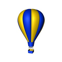 Hot air balloon. Isolated on white background. 3D rendering illustration.