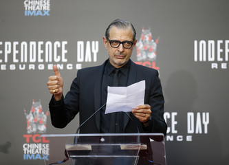 Actor Jeff Goldblum speaks at the Hand and Foot Print Ceremony for director Roland Emmerich in Hollywood